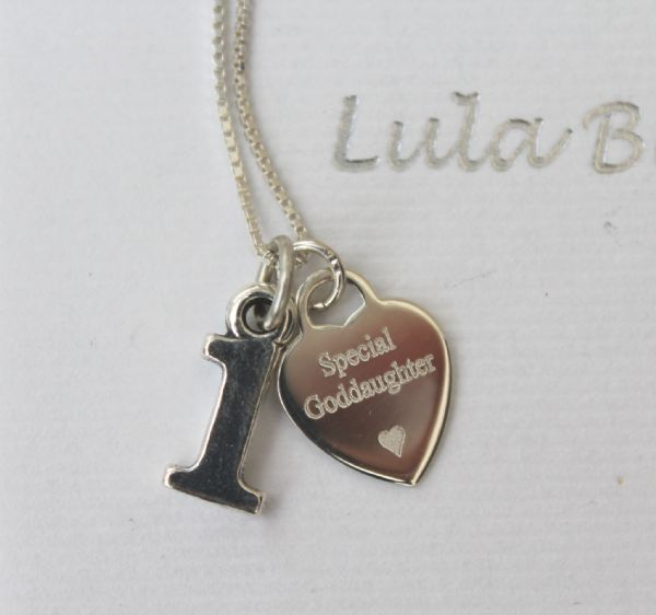 1st birthday silver jewellery  gift for a Goddaughter - FREE ENGRAVING
